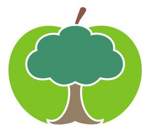 Logo - tree over apple.